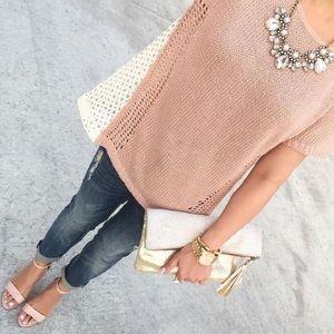 NWOT Pink Madeira Eyelet Sweater Tee