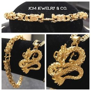Other - 14K Gold Plated Cuban w/ Dragon Piece & Bracelet