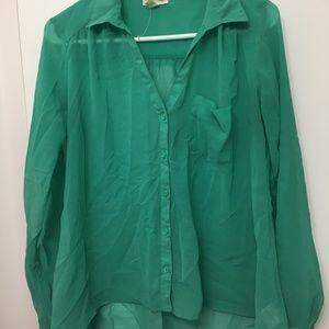 Green Long Sleeve Shirt Urban Outfitters