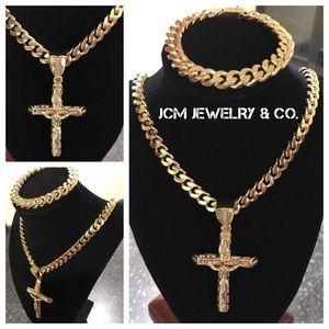 "14K Gold Plated Cuban w/ 3"" Crucifix & Bracelet"
