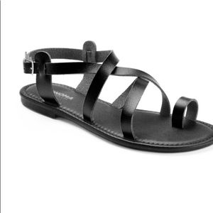 NEW! SONOMA BLACK FAUX LEATHER SANDALS Women's 9.5