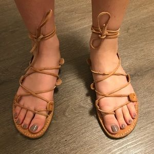 Reformation leather lace up sandals
