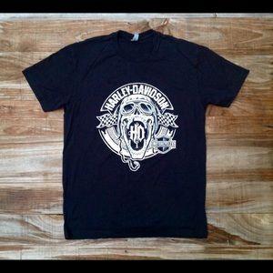 Other - Harley Biker Style Black Tee White Screaming Skull