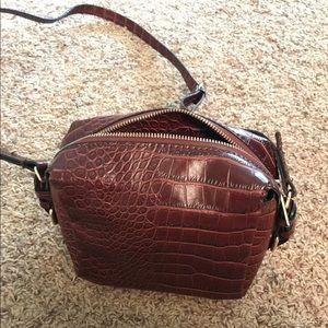 Zara burgundy croco snakeskin bag vegan leather