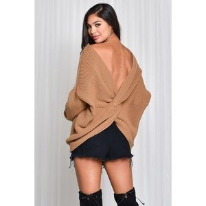 New brown toffee oversized twist back sweater