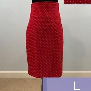 Lularoe Red with White Polka Dots Cassie Skirt