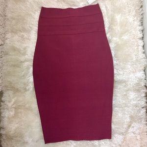 NEW 🔥 Luxurious Bandage Midi Skirt Merlot Berry