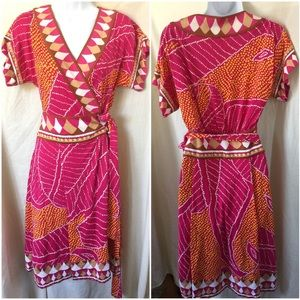 DVF 70's inspired silk wrap knee length dress Sz 8