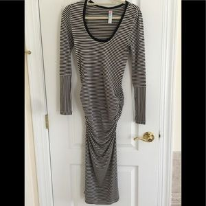 Free People Two-Tone Stripped Gathered Dress