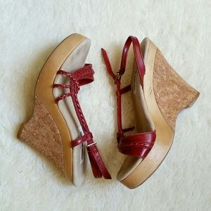 Steve Madden Cork Heel Red Knot Strap Wedges