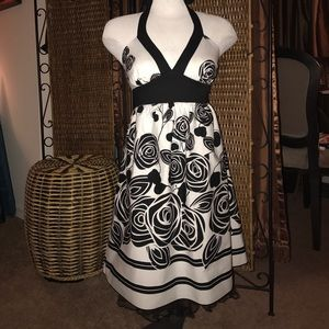 Lady's, Black and White Dress with Tulle Ruffle
