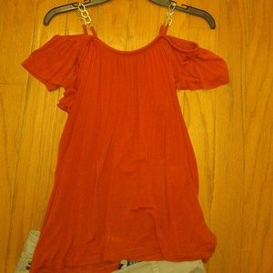 Burnt Orange Cold Shoulder Short Sleeve Top