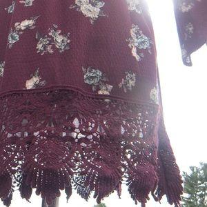 Merlot Floral Off-Shoulder Mini Dress