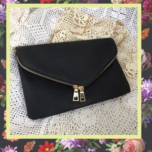 Urban Outfitters Black Zippered Clutch Gold Chain