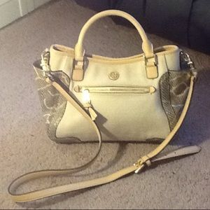 Tory Burch canvas/ Snakeskin Leather Bag FIRM