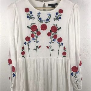 Forever 21 Embroidered Gauze Boho festival Top  S