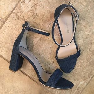 Kenneth Cole denim ankle strap heels.