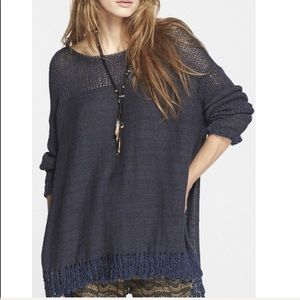 Free People oversized pullover sweater in navy