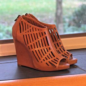 Tan leather cut-out peep-toe wedges