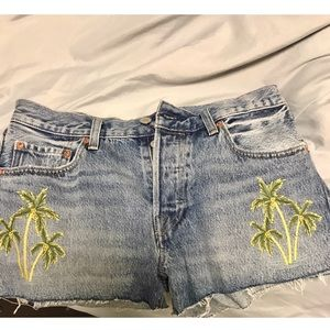 Free People Levi embroidered palm tree shorts