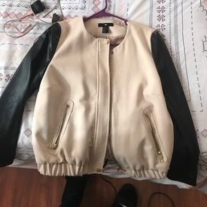 Bomber jacket with leather sleeves