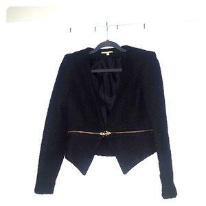 Gianni Bini Black Zipper Textured Jacket/Blazer