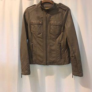 Grey Leather Moto Jacket by Ashley B.