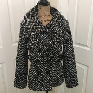 Philosophy Republic Black & White Tweed Pea Coat