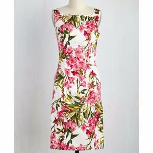 Hearts and Roses Pink Green Floral Sheath Dress