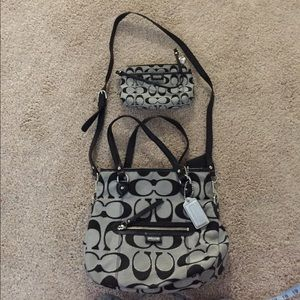 Authentic coach factory bag and wristlet