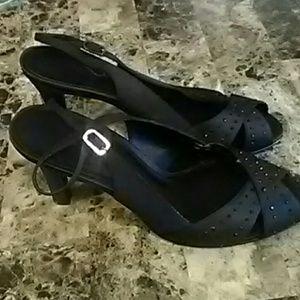 Mina  Black  Shine Stone  Open Toes Heels