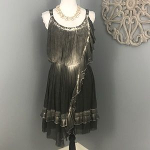 Free People | Gray Asymmetrical Ruffle Dress