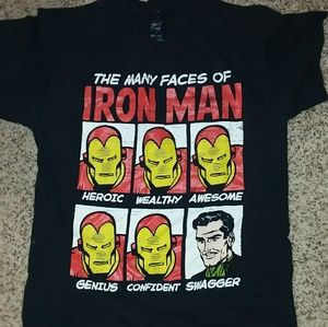 THE MANY FACES OF IRON MAN TSHIRT SIZE MD-38-40