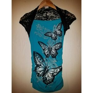 Sky Blue Top with lace cover up