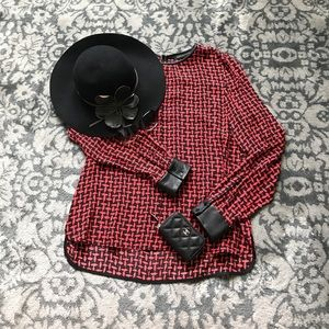 Zara top with leather cuffs