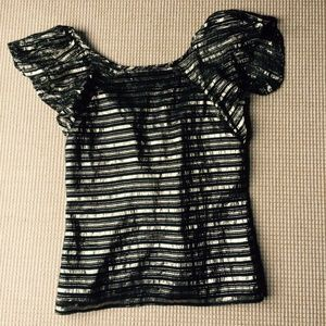 Britt Ryan 100% Silk Metallic Tie back Blouse