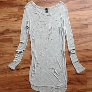 Distressed long sleeve top