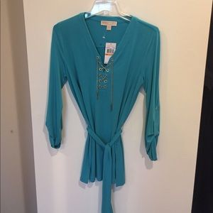 Michael Kors tunic style top turquoise nwt silver