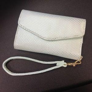 Mint Polka Dot Phone Wristlet Wallet