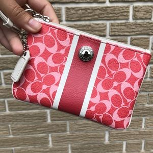 Pink and Red Coach Clutch