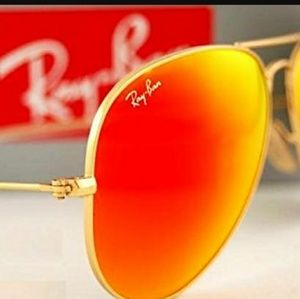 Ray-Ban aviator orange mirror witj gold frame