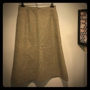 Vintage Grey Wool A-line Skirt