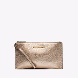 MICHAEL KORS Bedford Pale Gold Metallic Leather