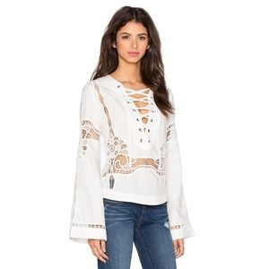 NWT Free People Bittersweet lace up top white