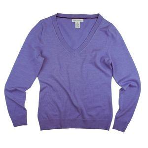 BANANA REPUBLIC Lavender Merino Wool VNeck Sweater