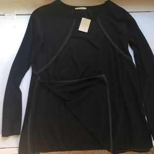Black side slit tunic