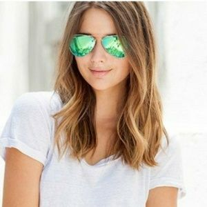 Ray-ban aviator green mirror gold frame sunglasses