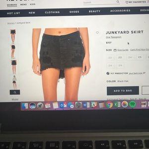 One Teaspoon Junkyard Black Denim Skirt