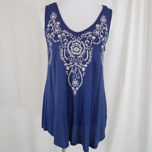 Flowy navy sleeveless top with white stitching