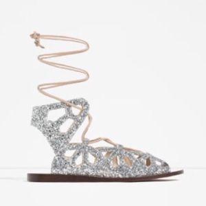 Zara Roman Sparkly Glitter Sandal